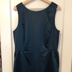 women's silk teal cocktail dress W/ POCKETS!
